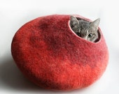 ON SALE till 30.09 Cat Nap Cocoon / Cave / Bed / House / Vessel - Hand Felted Wool - Crisp Contemporary Design - READY To Ship Warm Orange R