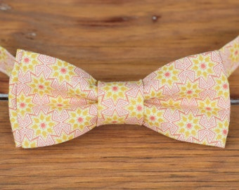 Boys Bow Tie - boy's pink gold star cotton bowtie - infant baby toddler child preteen bow tie - little boy bow tie - photo shoot bow tie