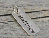 Hand Stamped Jewelry - Personalized Jewelry - Charm For Necklace - Sterling Silver Rectangle - Name