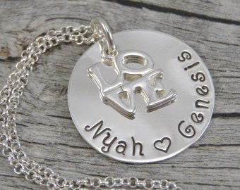 Hand Stamped Jewelry - Personalized Jewelry - Mother Necklace - Sterling Silver Necklace - Two or three names - LOVE Charm