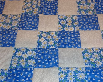 Blue Daisies and White Baby Toddler Patchwork Handmade Quilt