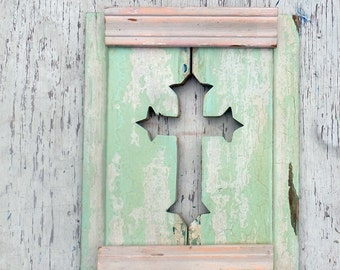 Sea Green Cross, Reclaimed Wood Cross, Salvaged Wood Art Boho Room Decor Wooden Cross Christian Wall Art Inspirational Decor Wood Wall Cross