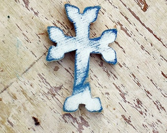 Blue Armenian Cross, Salvaged Wood Cross Art, Distressed Cross, Wooden Wall Cross, Primitive Cross, Rustic Wall Decor Christian Decor
