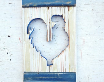 Chicken Wall Art, Salvaged Wood Decor, Distressed Wood Hen, Cream nursery Decor, Kitchen Chicken Art, Rustic Kitchen Decor, Chicken Decor
