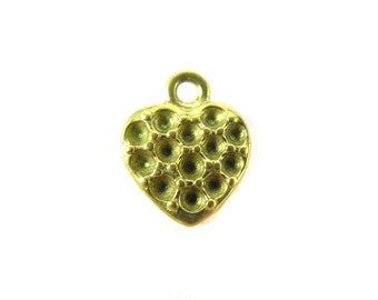 Raw Brass Heart Charms with Rhinestone Notches (6x) (V188)