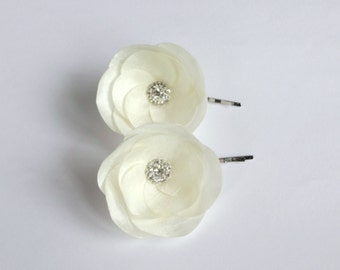 Bridal Ivory Silk Flowers Hair Pins or Shoe Clips