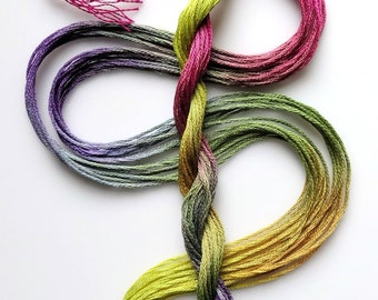 """Embroidery floss """"Garden Afternoon"""" hand dyed cotton"""
