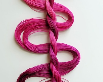 "Size 30 ""Raspberry Sorbet"" hand dyed thread 6 cord cordonnet tatting crochet cotton"