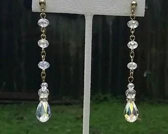 Swarovski AB Teardrop Earrings in Gold