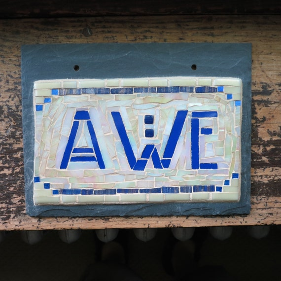 Awe Sign in Iridescent Cream and Cobalt Blue