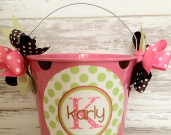 ON SALE personalized Preppy 5 Quart bucket in pink, brown and green