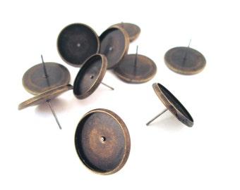 16mm bezel setting stud earrings, brass plated, Pick your amount, C167
