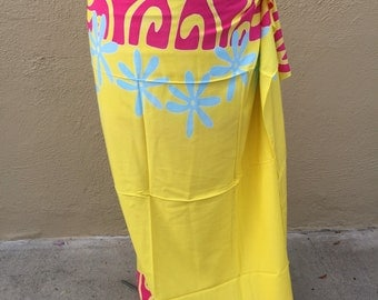 Bright yellow, bright pink, sky blue tattoo tiare premium Tahitian pareo, Tahitian fabric, full and half sized, pareau