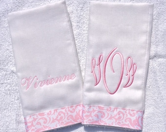 Pink Burp Cloths Personalized Monogrammed - -  Set of 2