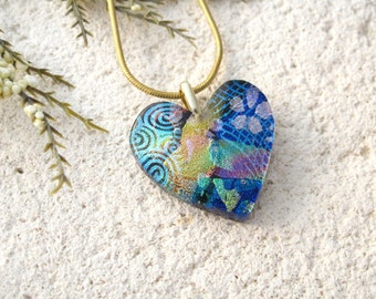 Golden Blue Heart Necklace, Dichroic Jewelry, Fused Glass Pendant, Necklace, Fused Glasss Jewelry, Glass Jewelry, Gold Necklace, 41816p10