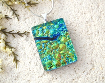 Blue Green Gold Necklace, Dichroic Glass Jewelry, Dichroic Necklace, Fused Glass Jewelry, Fused Glass Pendant, Glass Necklace 121215p121