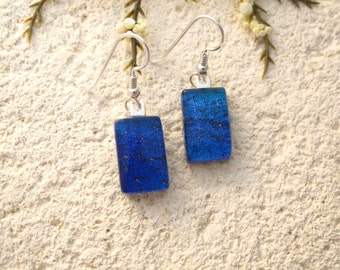 Petite Dichroic Glass Earrings, Dichroic Earrings, Dangle Drop Earrings, Blue Earrings, Fused Glass Jewelry, Sterling Silver, 010916e107