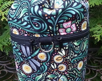Pretty knitting bag, knitting in public drawstring bag, knitting project bag, WIP, Luminaria, Kipster