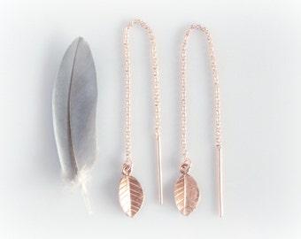 Rose Gold Filled Thread Through Earrings - Leaf Charm Ear Threads -  Delicate Threader Earrings