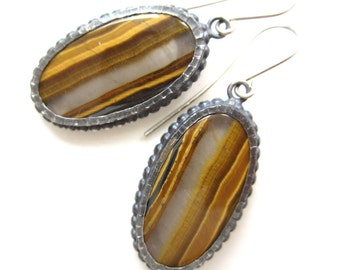 Tiger Eye and Sterling Silver Dangling Earrings, brown and yellow earrings, cabochon earrings