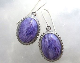 Charoite and Sterling Silver Dangling Earrings, Oval Purple Earrings, Purple Stone Earrings