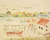 Cross Stitch Kit – Vintage Stamped Linen Boat Dock Scene Pattern – Nautical – Bucilla Embroidery Kit