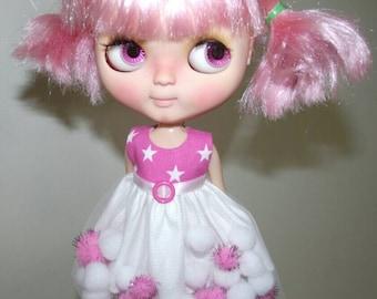 SALE Pink Star pom-pom Dress for Blythe and Pullip