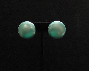 Pearly Bright Blue Clip On Earrings Round Plastic Resin Made in Japan Circle Simple Shaped Turquoise Vintage 1970's Costume Jewelry