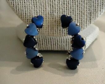 Vintage Blue Heart Clip Earrings