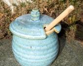 Honey Pot/Sugar Jar/Salsa Pot in Turquoise Blue