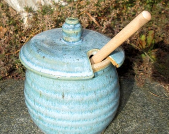 Honey Pot/Sugar Jar/Salsa Pot in Turquoise Blue