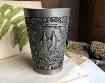 Pewter Cup Zinn-Becker Stutgart Hand Engraved Pewter Cup