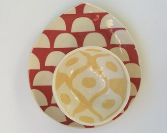 Ceramic pottery Plate teardtrop shaped with Dots pattern-- tomato red