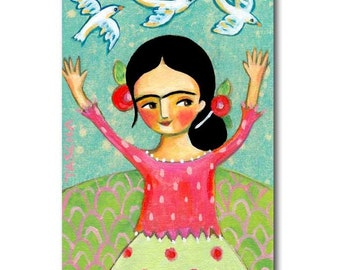 Frida painting NEW DAY Frida Kahlo with Doves folk art ORIGINAL painting small artwork by Canadian Artist Tascha