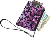 Pixy Roo Small Wristlet - coin purse - credit card purse - Zippered Pouch - Frequent Shopper Card Pouch - FAST SHIPPING -Passion Purple