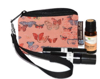Small Essential Oil Bag - Essential Oil Pouch - Small Bag - Oil Pouch - Fast Shipping - Butterfly Wishes Fabric
