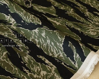 Japanese Fabric 100% linen tiger camouflage - green -  50cm