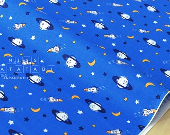 Japanese Fabric Space and Rockets - blue - 50cm