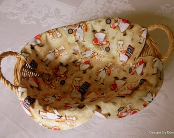 Basket Liner, Table Topper, Bread Cloth, Centerpiece, Cute Mustached Chefs, Handmade Table Linens