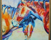 "SALE Original Horse Friends Oil Paining 18""x18"" with a hemlock slat frame"