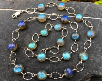 Luxe Labradorite Gemstone Sterling Silver Necklace, 18 Inch Long, Handmade Jewelry, Wire Wrap, Blue Aqua Teal, Genuine Natural, High Quality