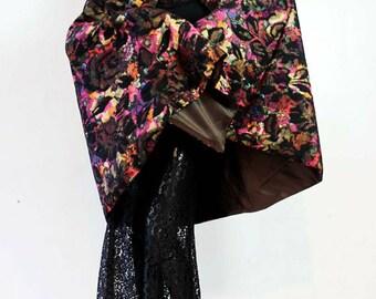 Sale - Dramatic Cape/Skirt in Multicolor Garden Colors