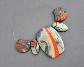 Polymer Clay handmade beads. Set of five 5. Drilled Cabochons. Mokume Gane. Jewelry Making Components Tribal Abtract Boho. Blue Orange.