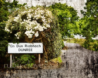 DUNREE, Co. Donegal, Irish Sign, Gaeltacht, Irish Language, INISHOWEN, Gaelic, An Dún Riabhach, Fort,Lough Swilly, Irish Decor, Country Road