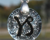 Fused Dichroic Glass Zodiac Sign Capricorn Pendant with Silver bail Zodiac Jewelry by zulasurfing