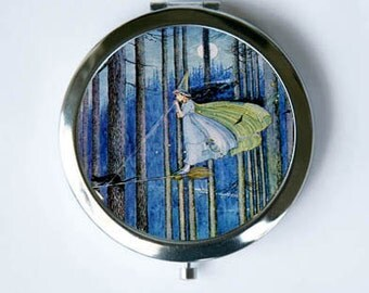 The Witch on Her Broom Compact MIRROR Pocket Mirror halloween Art Nouveau fairytale