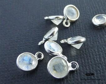 4 pcs 6mm Rainbow Moonstone (Natural) Sterling Silver Bezel Charm Pendants Drops F483S