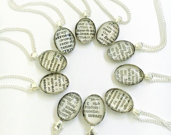 Dictionary Necklace, Jewelry with Words, Book Page Personalized Necklace, Everyday Necklace, For Book Worms, Gifts for Teachers