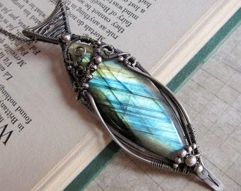 A Shard of Light  - Magical Aqua Blue and Amber Labradorite Pendant