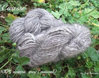 Handspun 100% angora yarn, DK/ARAN, NATURAL color (white or grey)